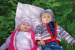 Children supine Stock Image