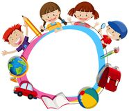 Children surroding a blank circle frame Royalty Free Stock Images