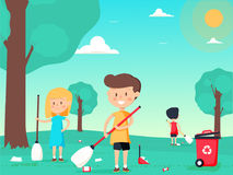 Children are sweeping and cleaning the playground. Cute kids volunteers. A vector illustration of kids volunteering by cleaning up the park Royalty Free Stock Photos