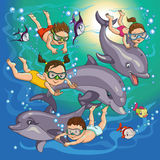 Children swim. Cartoon children swim with dolphins and fish stock illustration