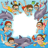 Children swim. Cartoon children swim with dolphins and fish. Space for text royalty free illustration
