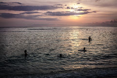 Children swim in the ocean evening sunset Stock Image