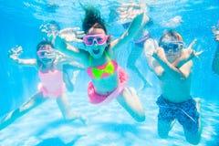 Children swim in  pool royalty free stock photography