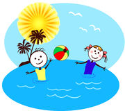 Children are swimming. A illustration of children at the beach Stock Images