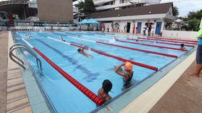 Children are swimming. BANGKOK CITY, THAILAND - July 19, 2015: Unknown child, Children are swimming. The swimming competition, Elementary School Students stock footage