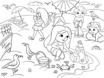Children swimming at the beach and play with toys. Coloring illustration. Zentangle style. Black and white sea, beach, kids, toy, bird, sand, ice cream and Royalty Free Stock Image