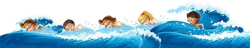 Children swimming in the ocean Stock Photos
