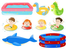 Children swimming and other equipments. Illustration Stock Photo