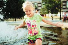 The children. Children swimming in the pond and swim Royalty Free Stock Photography