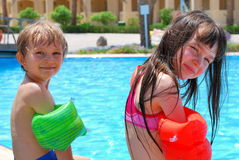 Children at swimming pool Royalty Free Stock Photography