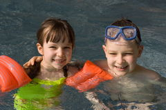 Children on swimming-pool Royalty Free Stock Image