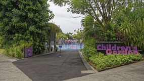 Children swimming in the pool Children`s Garden of Gardens by t. Singapore, Singapore- August 08, 2018: Children swimming in the pool Children`s Garden of stock photography