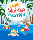 Children swimming in a resort for summer vacation Royalty Free Stock Photos