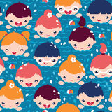 Children swimming seamless pattern background Stock Photo