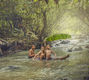 Children swimming. Children swim in the streams Royalty Free Stock Photos