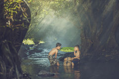 Children swimming. Children swim in the streams Royalty Free Stock Images