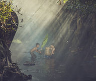 Children swimming. Children swim in the streams Royalty Free Stock Photography