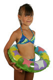 Children in swimsuit. With big ball, isolated on white Stock Photography