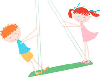 Children on a swing Royalty Free Stock Photo