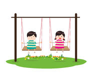 Children on Swing. Little Children happy playing illuttration stock illustration