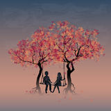 Children swinging. Couple on a swing between trees. Children swinging. Vector, EPS 10 Royalty Free Stock Photo