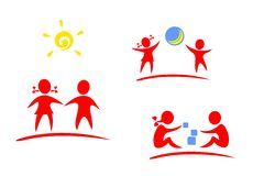 Children symbols. Red symbols of playing children on a white background Royalty Free Stock Photo