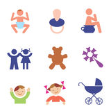 Children symbols. Several symbols and icons of childhood. Vector  illustration Royalty Free Stock Image