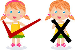 Children with symbols of right and wrong Stock Photos
