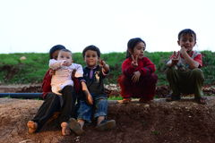 Children of syrian refugees. Stock Photo