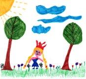 Children szczęścia rysuje princess na łące Zdjęcie Royalty Free