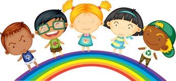 children tęczy pozycja royalty ilustracja