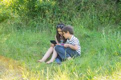 Children with a tablet royalty free stock photos
