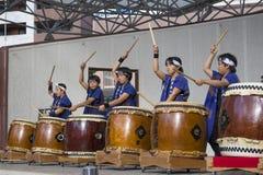 Children taiko drumming band giving a performance in Sasebo stock photo