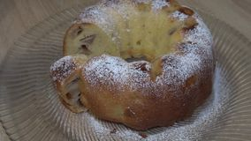 Delicious fresh apple pie in powdered sugar stock footage