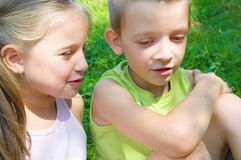 Children  talking. Outdoor at  the park Stock Image