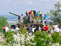 Children on the tank Stock Photography