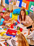 Children with teacher in  kindergarten Royalty Free Stock Photo