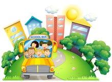 Children and teacher on school bus. Illustration Stock Photo