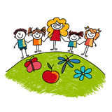 Children and teacher stand together Royalty Free Stock Photo