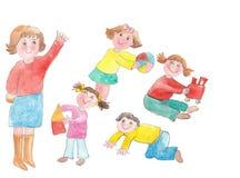 Children with teacher Stock Photo