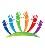 Children teamwork painted hands icon logo. Vector design Royalty Free Stock Photos