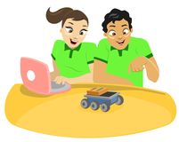 Children & Technology 1. A team composed of a boy and girl applying a robotics exercise Stock Illustration