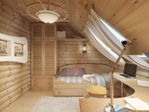 Children for a teenager in a log house in the attic. Stock Photography