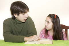 Children and teenager talking royalty free stock image