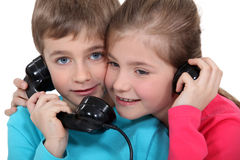 Children on the telephone Stock Photography