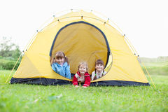 Children in tent Stock Photography