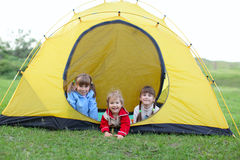 Children in tent Royalty Free Stock Photography