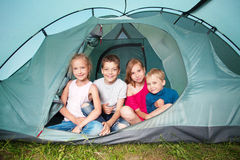 Children in a tent Royalty Free Stock Image