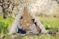 Children in a tent Royalty Free Stock Photography