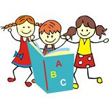 Children and textbook. Kids and textbook, vector icon. Two girl and boy are readers Stock Image